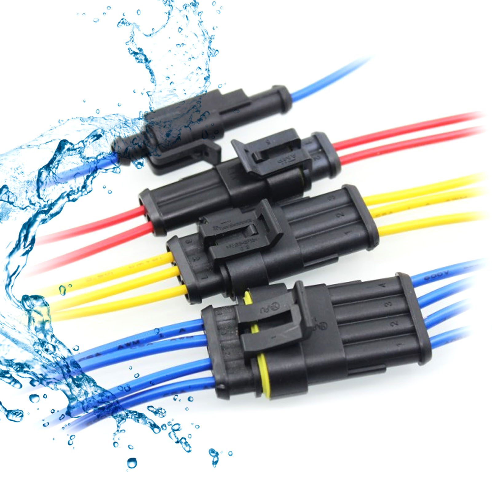 2 3 4 way superseal waterproof electricial connector plug kit 12v