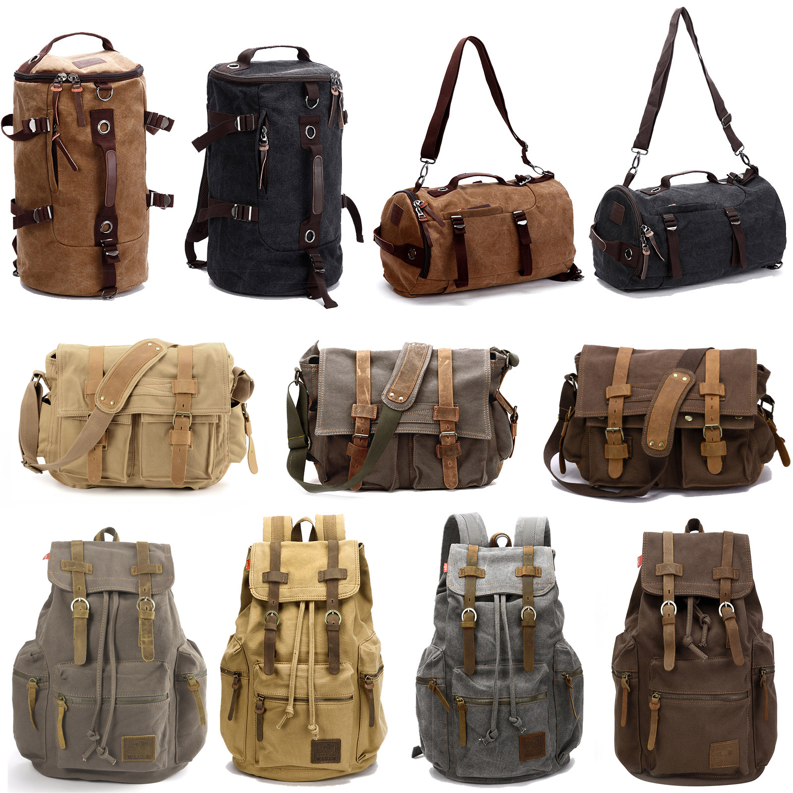 Details about Mens Canvas Backpack Rucksack School Travel Camping Bag Duffle  Gym Bag 10-32L bfb3152ff8b