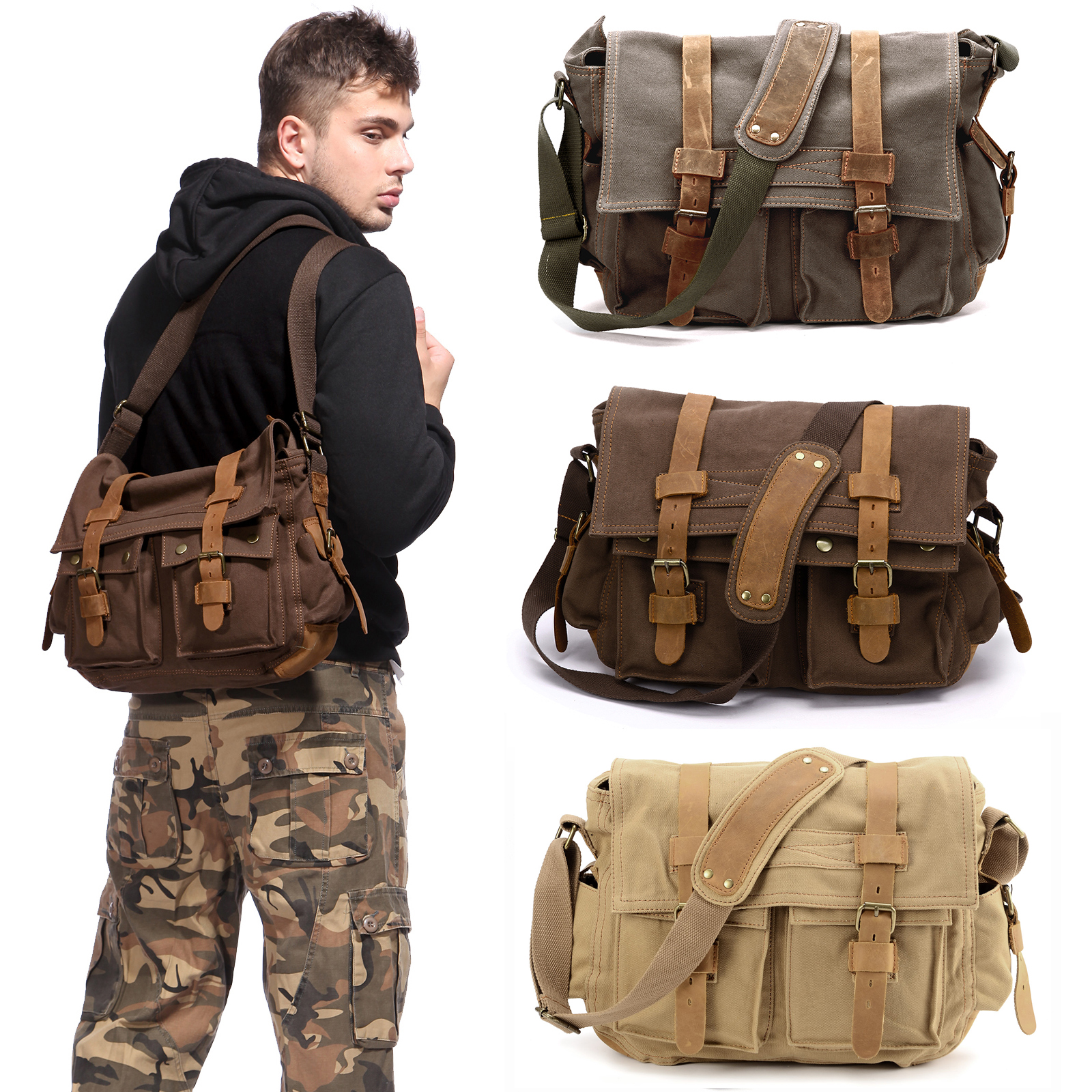 XUBA Men Canvas Retro Style Crossbody Bag Military Army Vintage Messenger Bags Shoulder Bag