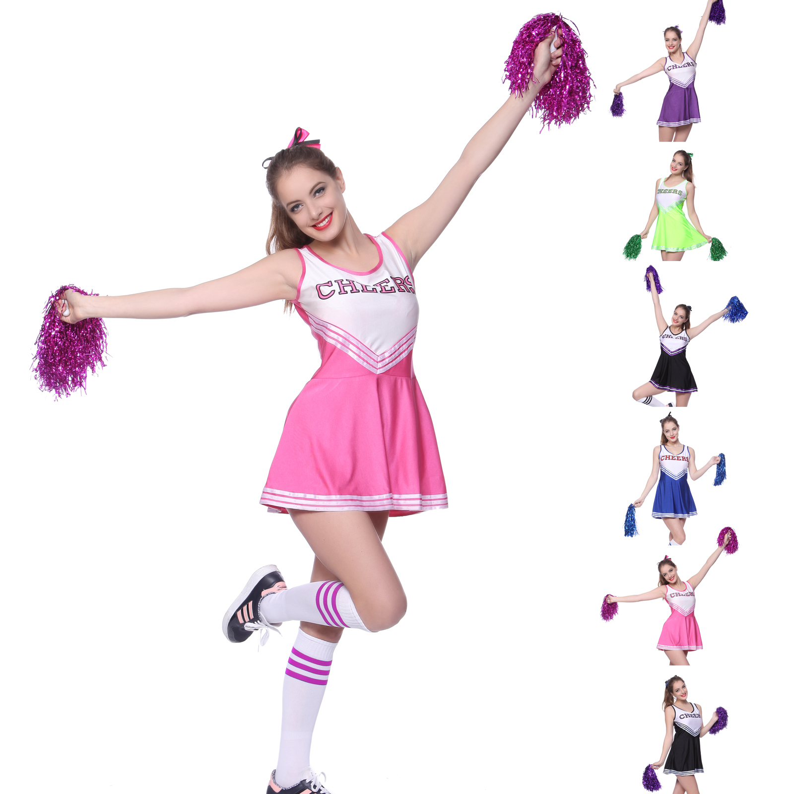 with Dress /& Pom Poms - Size: M.. COST-W NEW Child Cheerleader Costume Pink