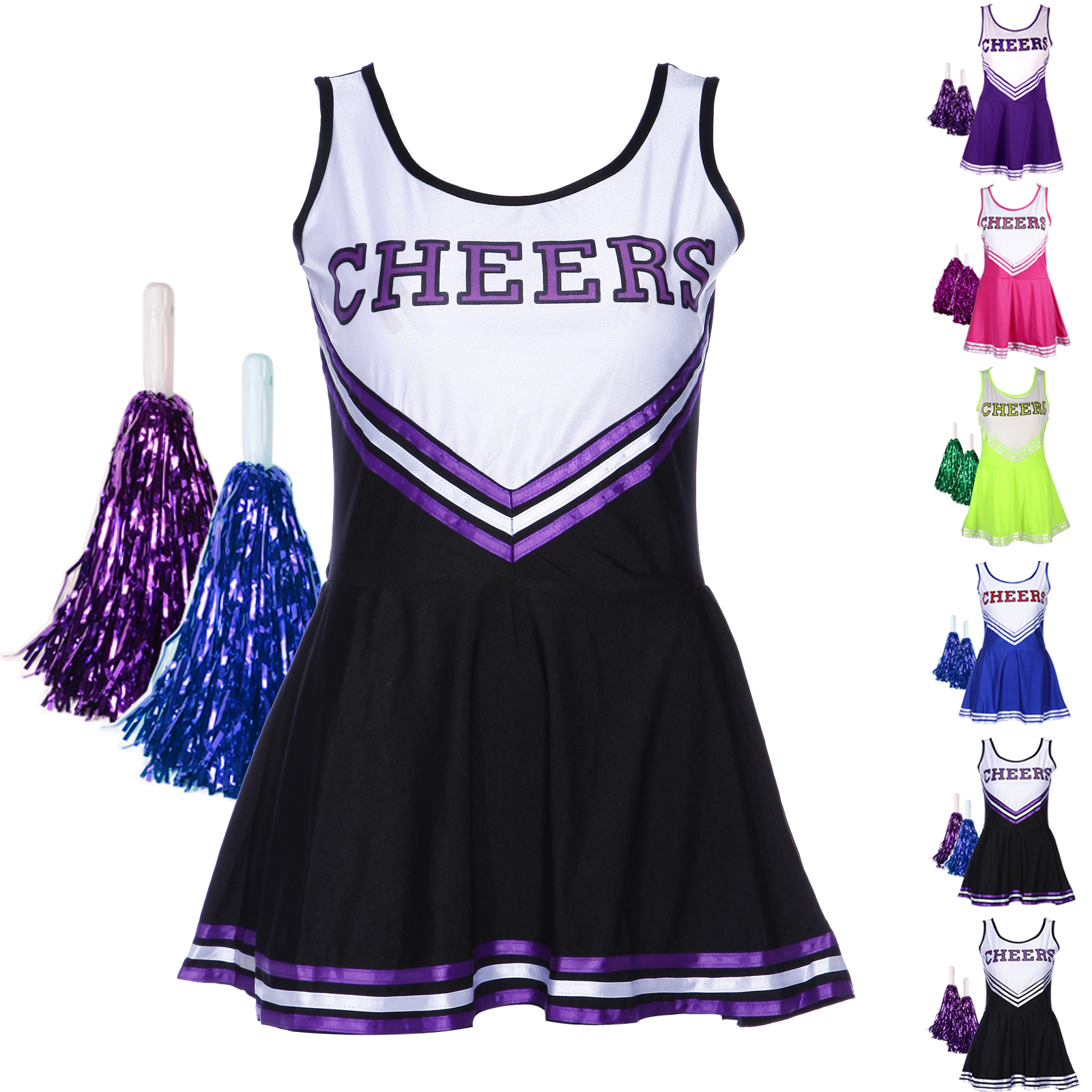 Cheerleader Fancy Dress Outfit Uniforme High School Musical Costume avec pompons