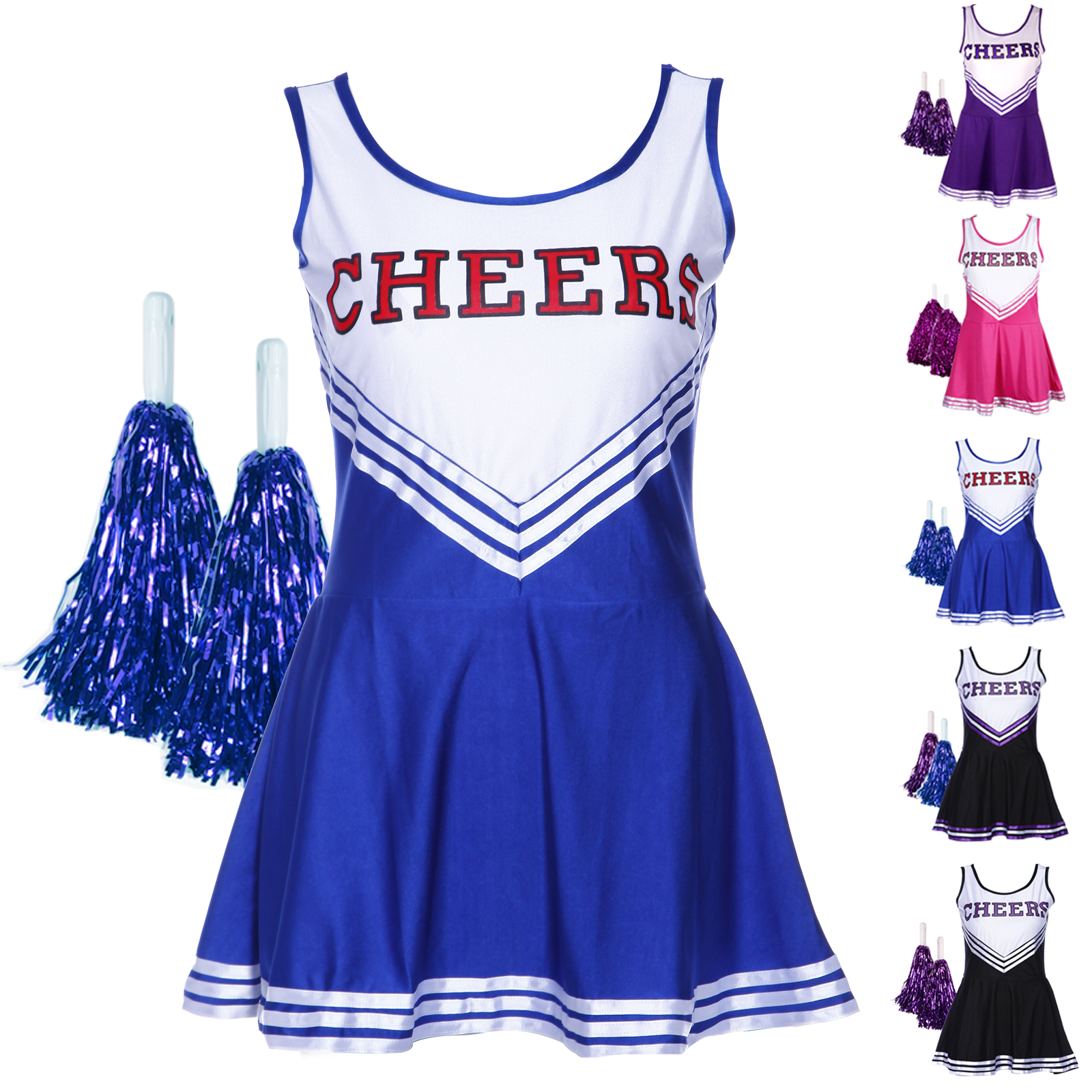 high school musical cheer girl cheerleader uniform costume outfit w pompoms pro ebay. Black Bedroom Furniture Sets. Home Design Ideas