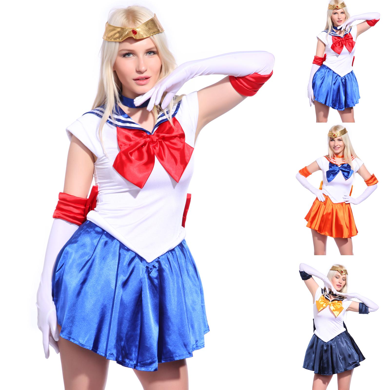 5 Teilige Kleid Karneval Sailor Moon Venus Kostüm Schulmädchen Manga