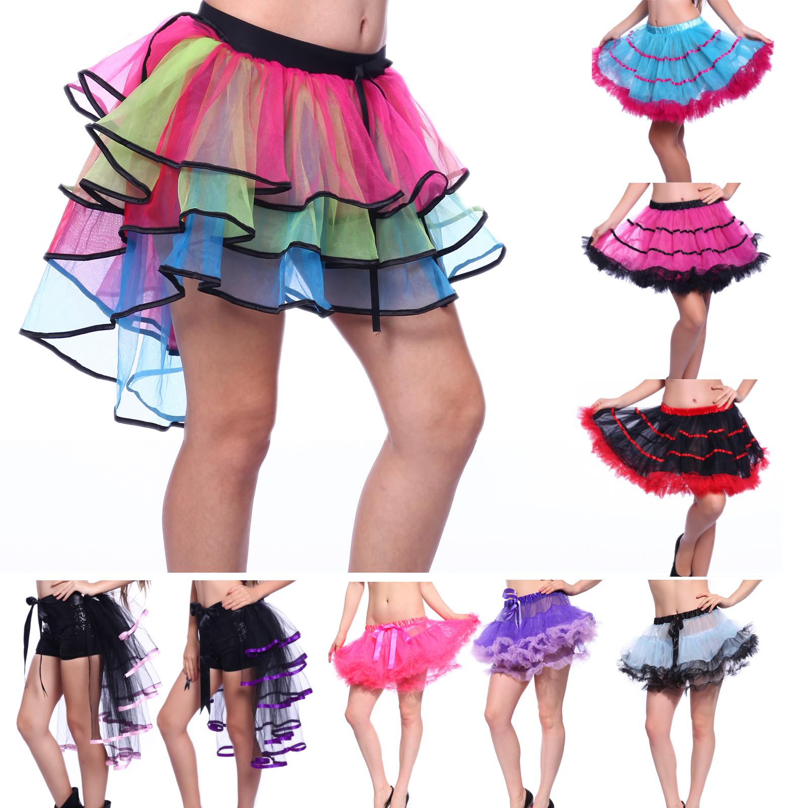 11a4421a816 Rainbow Neon RaRa Rave Party Ballet Dance Ruffle Tiered Tutu Skirt Clubwear