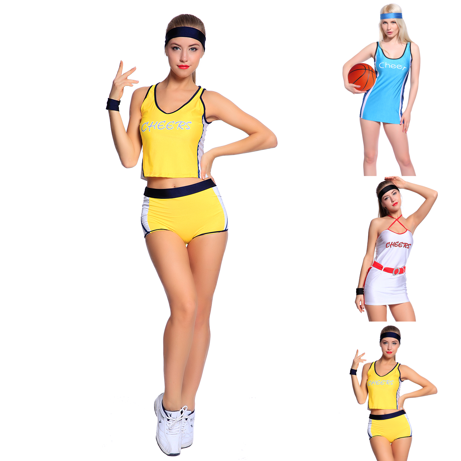 f689b663fa9 Details about Sexy High School Girl Basketball Player Outfit Cheerleader  Fancy Dress Costume
