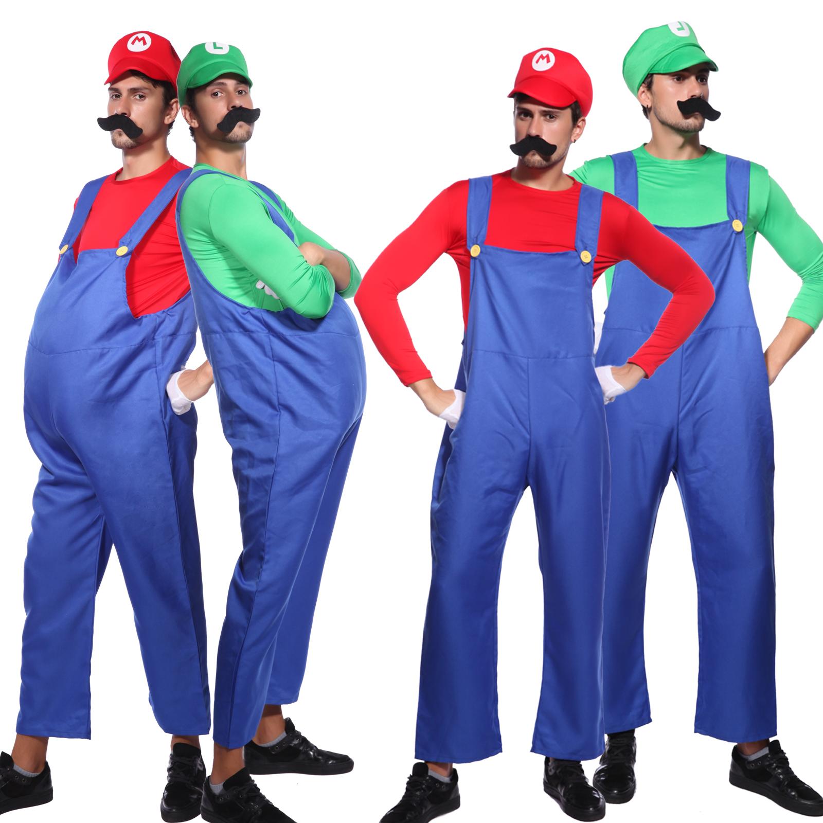 Adult Men Super Mario and Luigi Bros Fancy Dress Halloween Costume COS Plumber