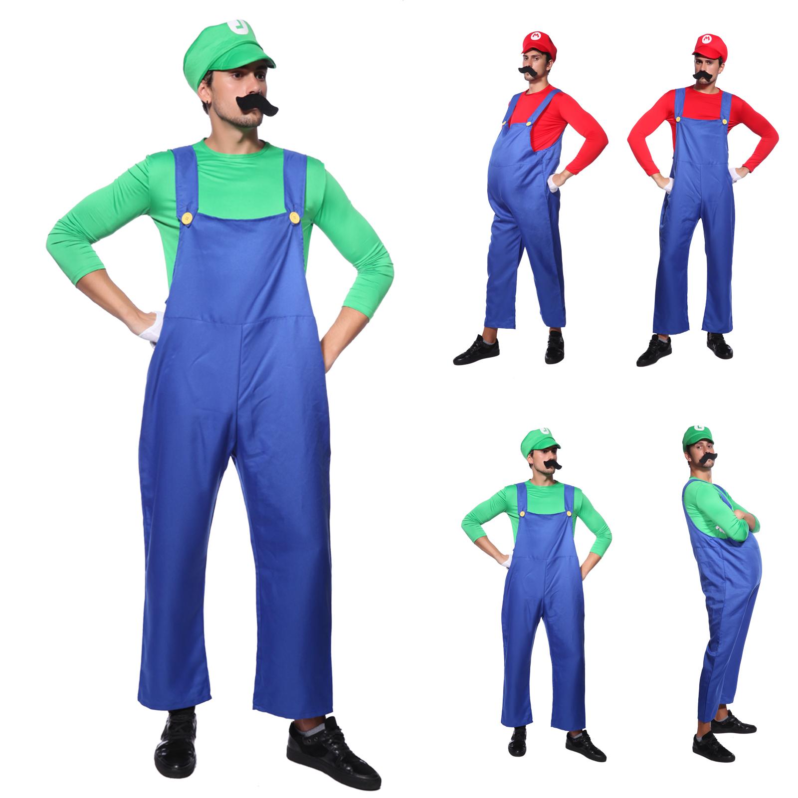 Mens Super Mario Brothers Costumes Mario Costume Hat Moustache Fancy Dress Party  sc 1 st  eBay & Mens Super Mario Brothers Costumes Mario Costume Hat Moustache Fancy ...