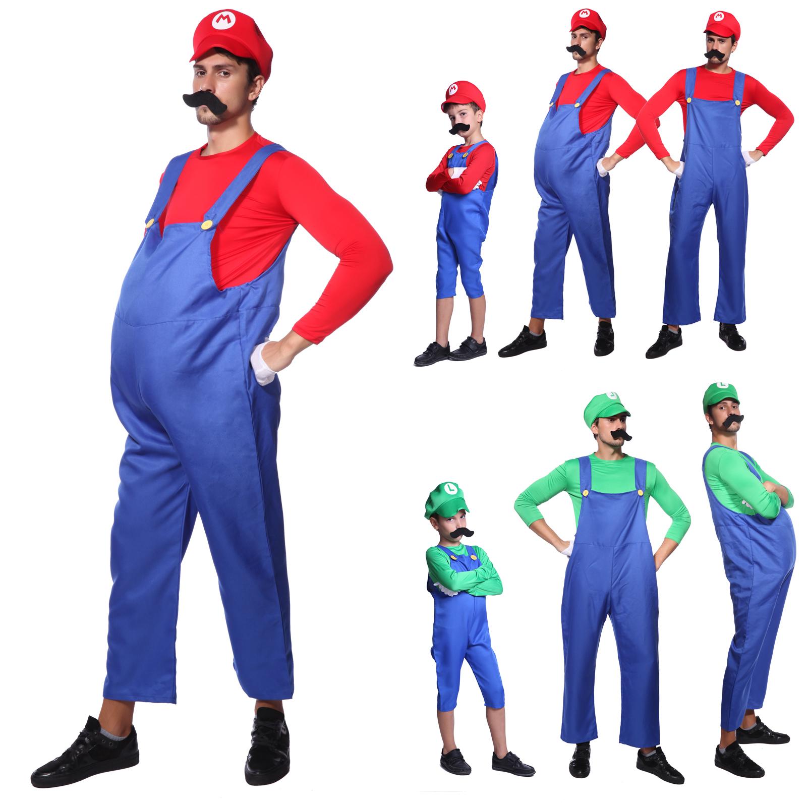 Mens Boys Super Mario and Luigi Bros Fancy Dress Plumber Halloween Costume