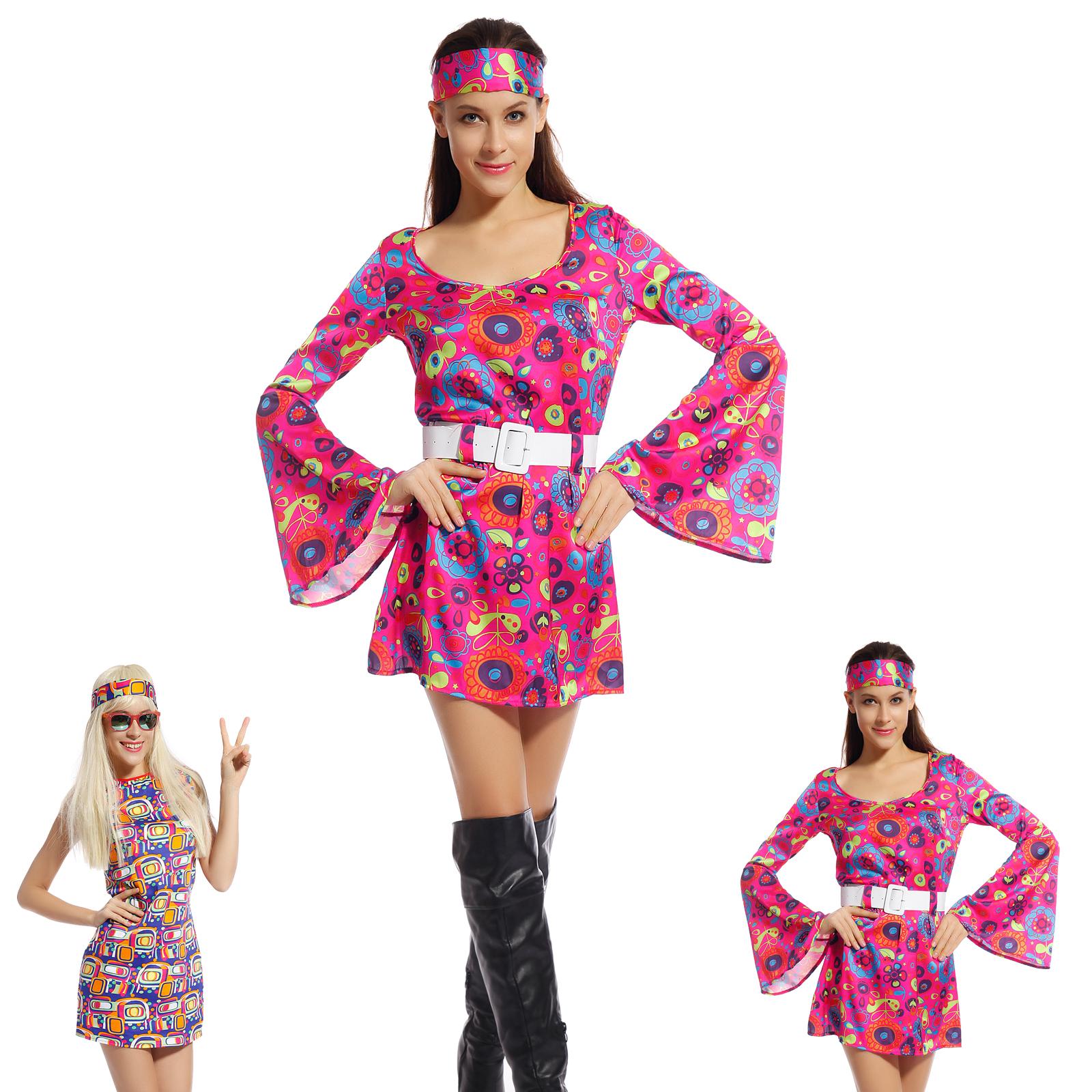 Disfraz de Hippie flowerpower Años 60 Vintage para Mujer Fiesta ...