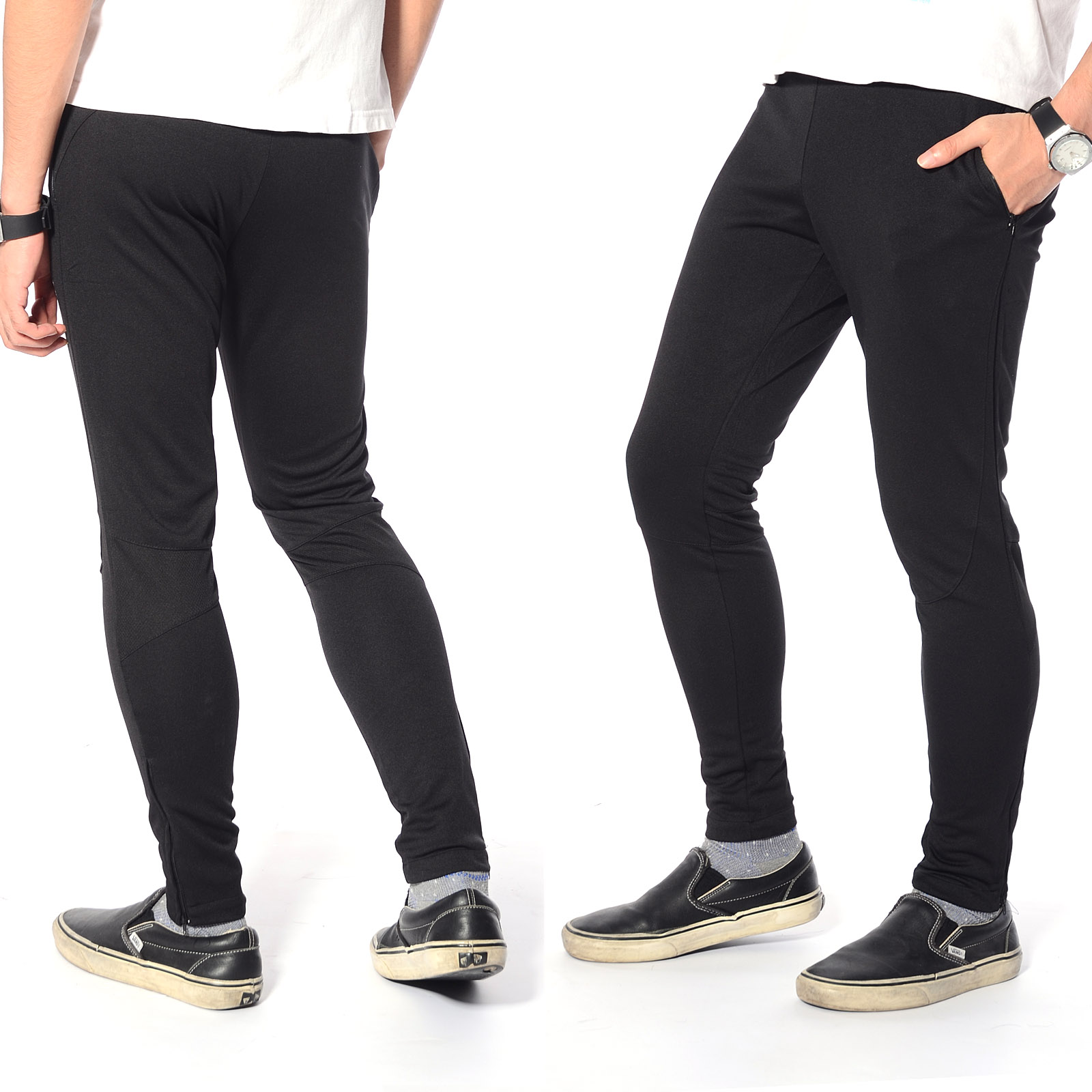 mens skinny soccer pants training sweat sports gym