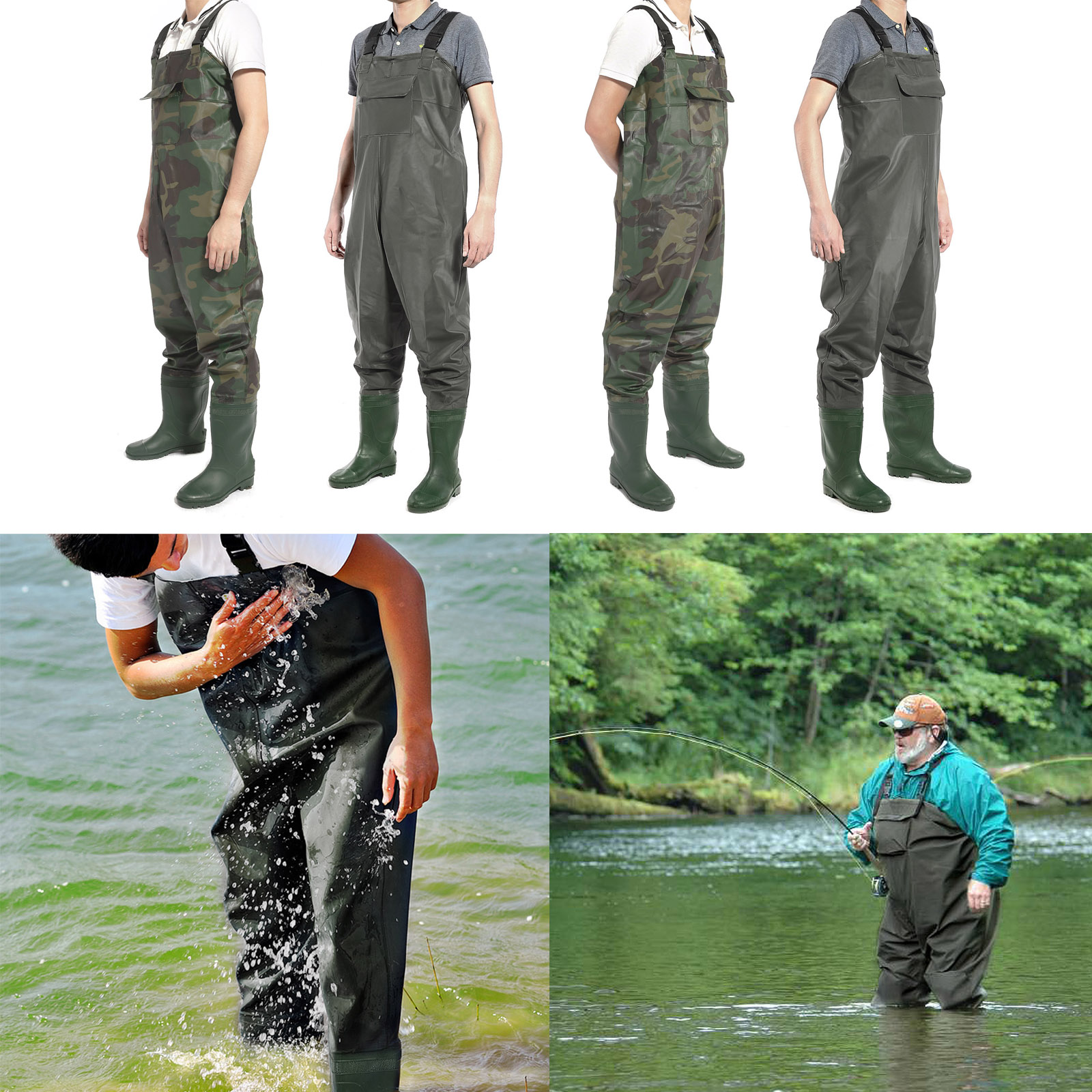 New chest waders waterproof fishing hunting boot foot for Chest waders for fishing