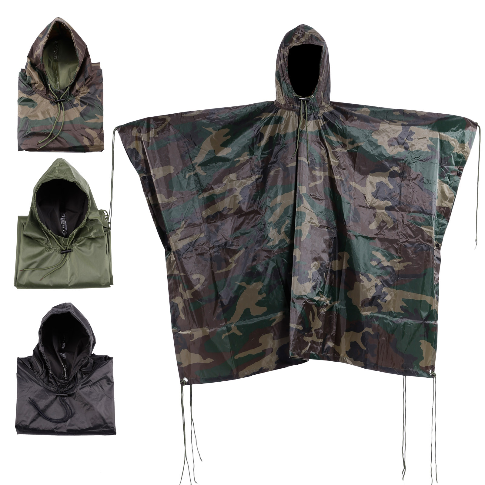 Army Waterproof Festival Rain Ripstop Military Camping Hiking hooded Poncho new