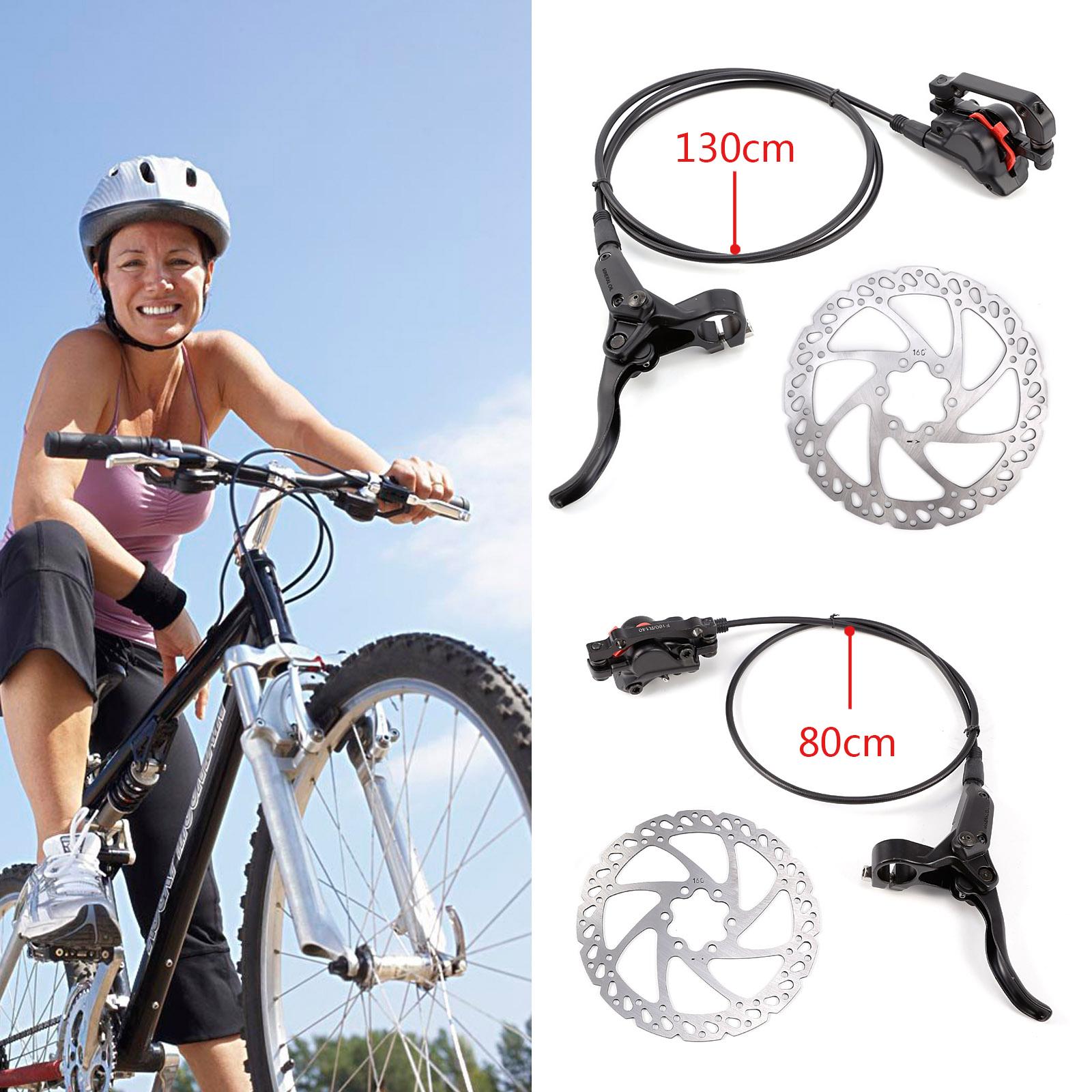 Hydraulic Disc Brakes Lever Calipers Rotor 160//180mm MTB Bike Front Rear black