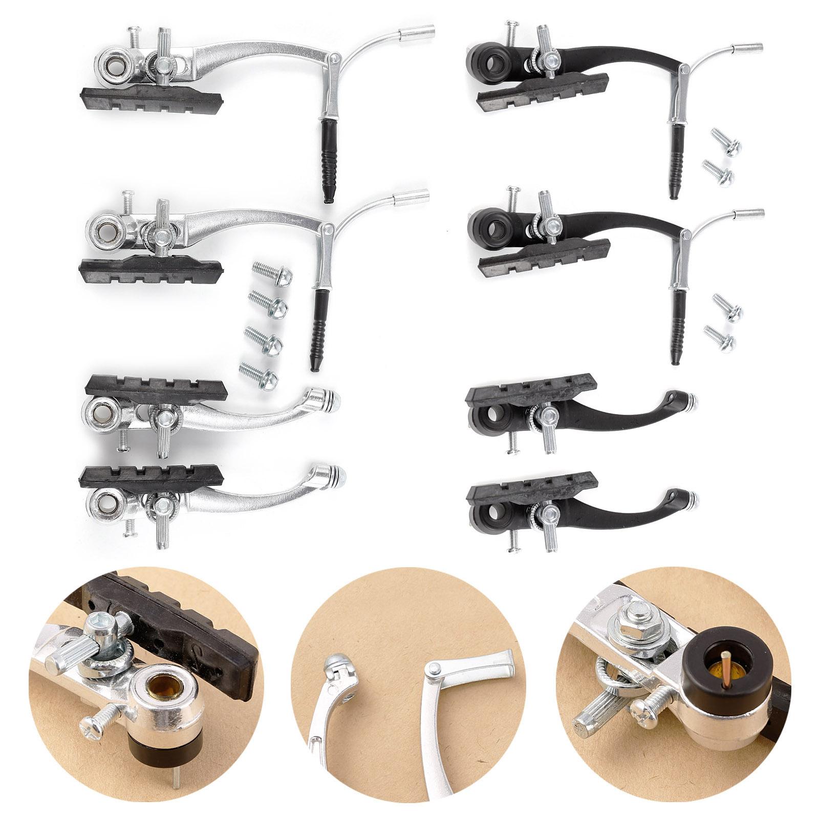 Silber-Schwarz-MTB-Farrad-Bremsen-Set-V-Brake-V-Bremse-fuer-Vorder-und-Hinderrad