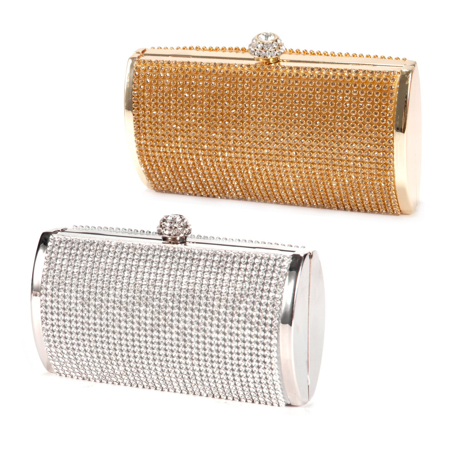 dfb68ac120082 Silver Gold Crystal Diamante Effect Evening Clutch Wedding Party Prom Bag  Box