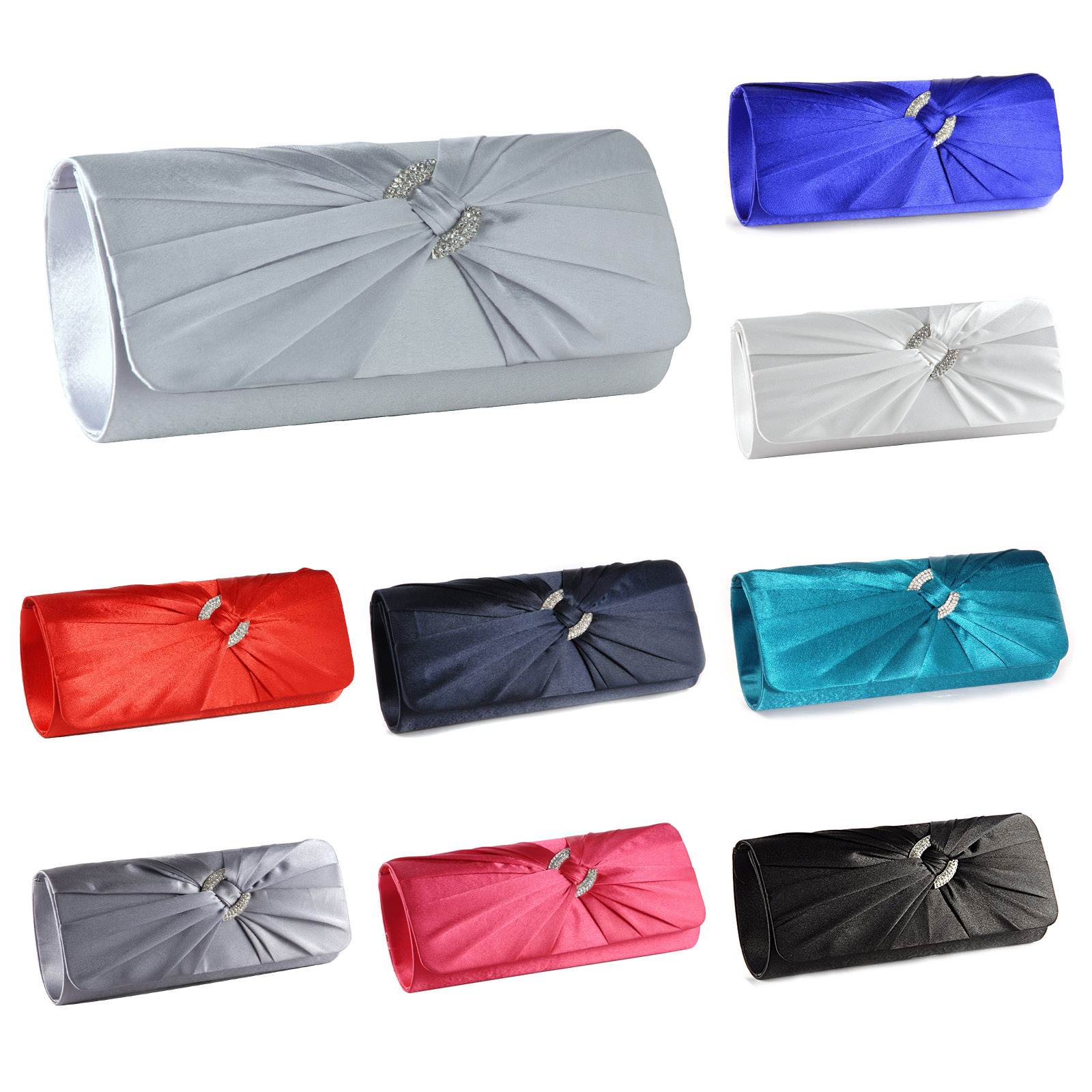52ecb593ffa New Satin Diamante Pleated Evening Clutch Bag Bridal Handbag Prom Purse