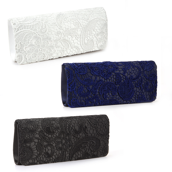 Floral Lace Evening Party Clutch Bag Bridal Wedding Purse Black ...