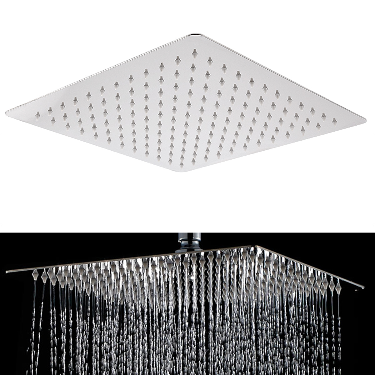 Details About 12inch Silver 201 Stainless Steel Square Overhead Flowing Shower Head Easy Fix