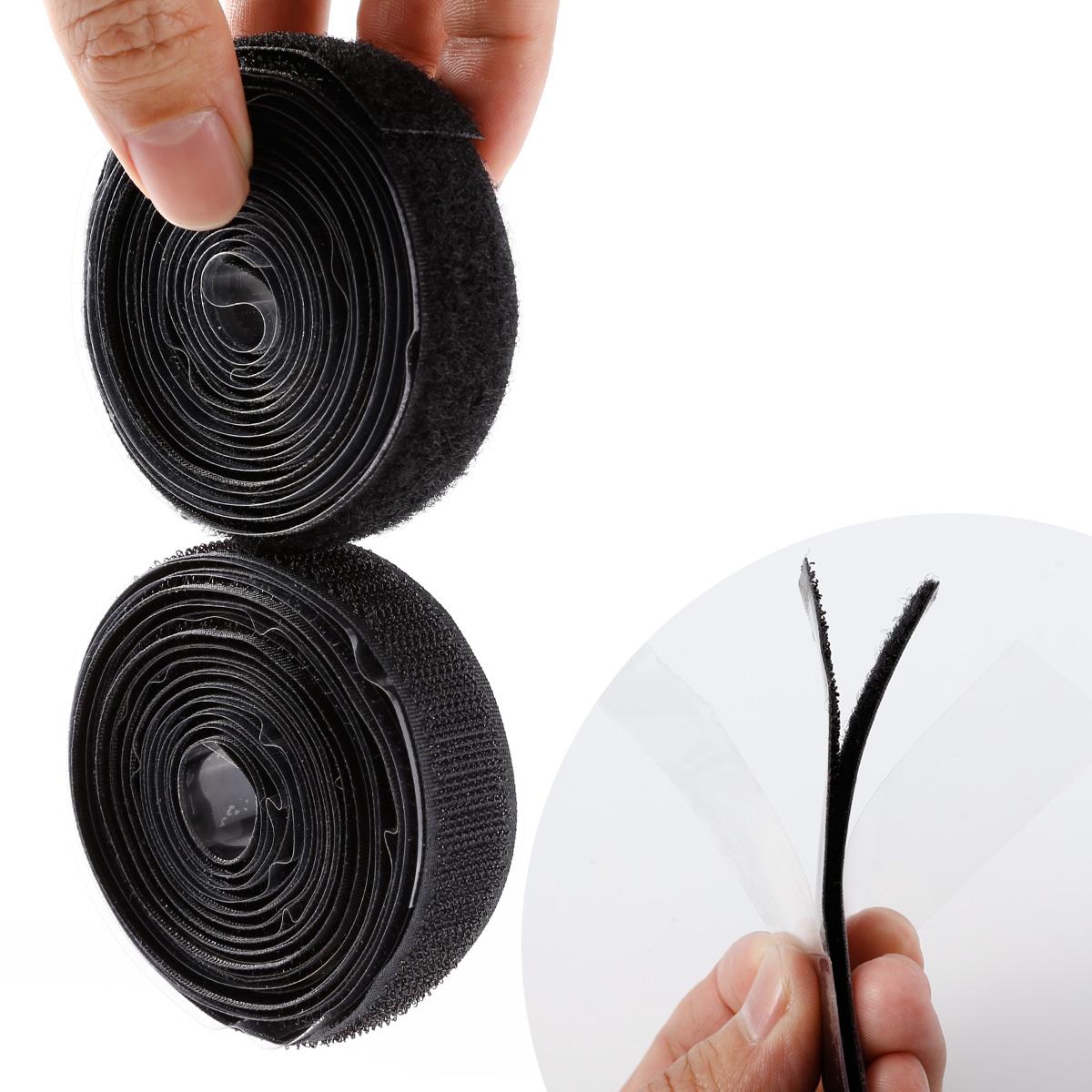 2m schwarz klettband haken und flauschband 20mm selbstklebend klettverschluss ebay. Black Bedroom Furniture Sets. Home Design Ideas