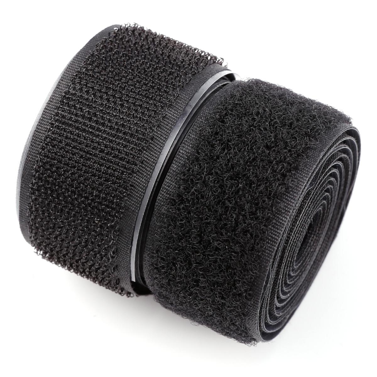 1m klettband haken flausch klettverschluss breite 25mm selbstklebend schwarz ebay. Black Bedroom Furniture Sets. Home Design Ideas