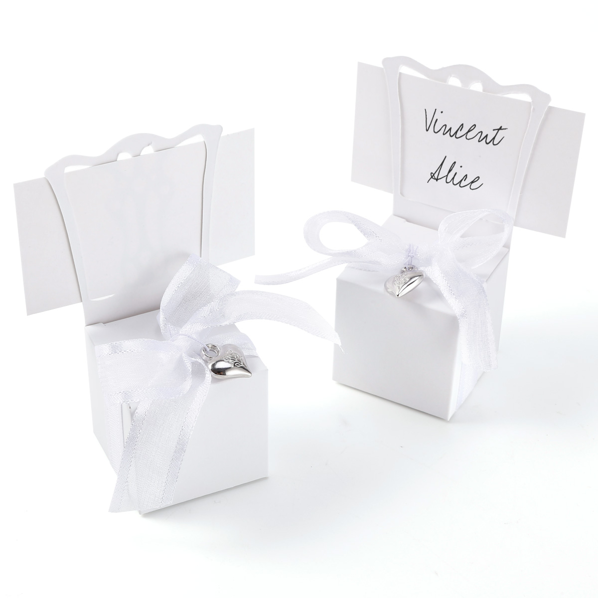 Ribbon Pendant Chair Wedding Party Gift Favor Boxes Place Name Card ...