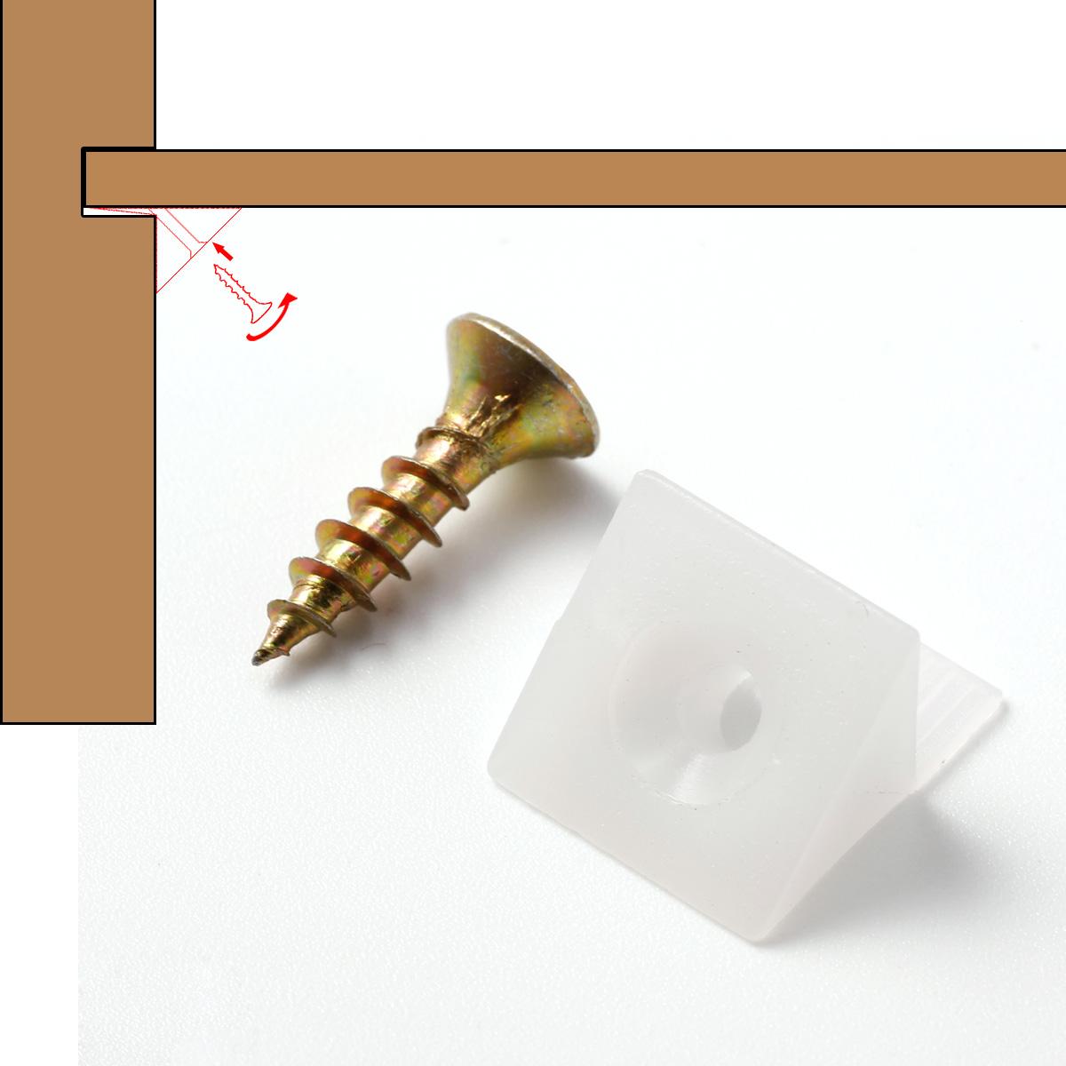 50x querre plastique blanc avec vis r paration affaissement tiroir tag re ebay. Black Bedroom Furniture Sets. Home Design Ideas