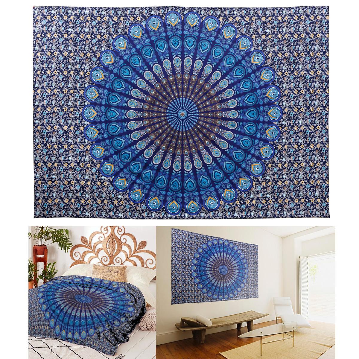 tenture murale tapisserie de mandala 210x146cm plumes paon 478 jet de lit ebay. Black Bedroom Furniture Sets. Home Design Ideas