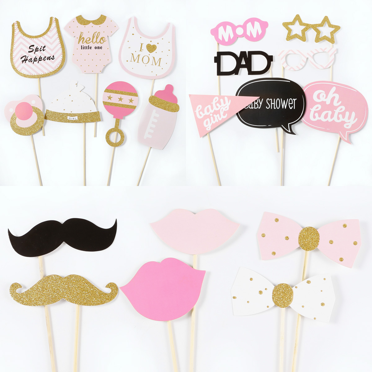20er pink baby photo booth props foto requisiten baby dusche geburtstag deko ebay. Black Bedroom Furniture Sets. Home Design Ideas