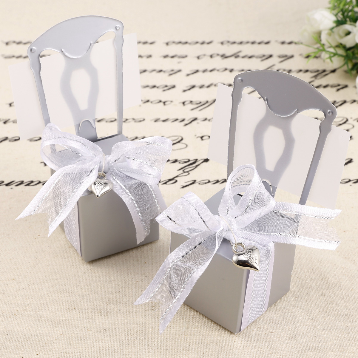 50x Love Chair Name Card Gift Boxes Wedding Favour Party Decoration ...