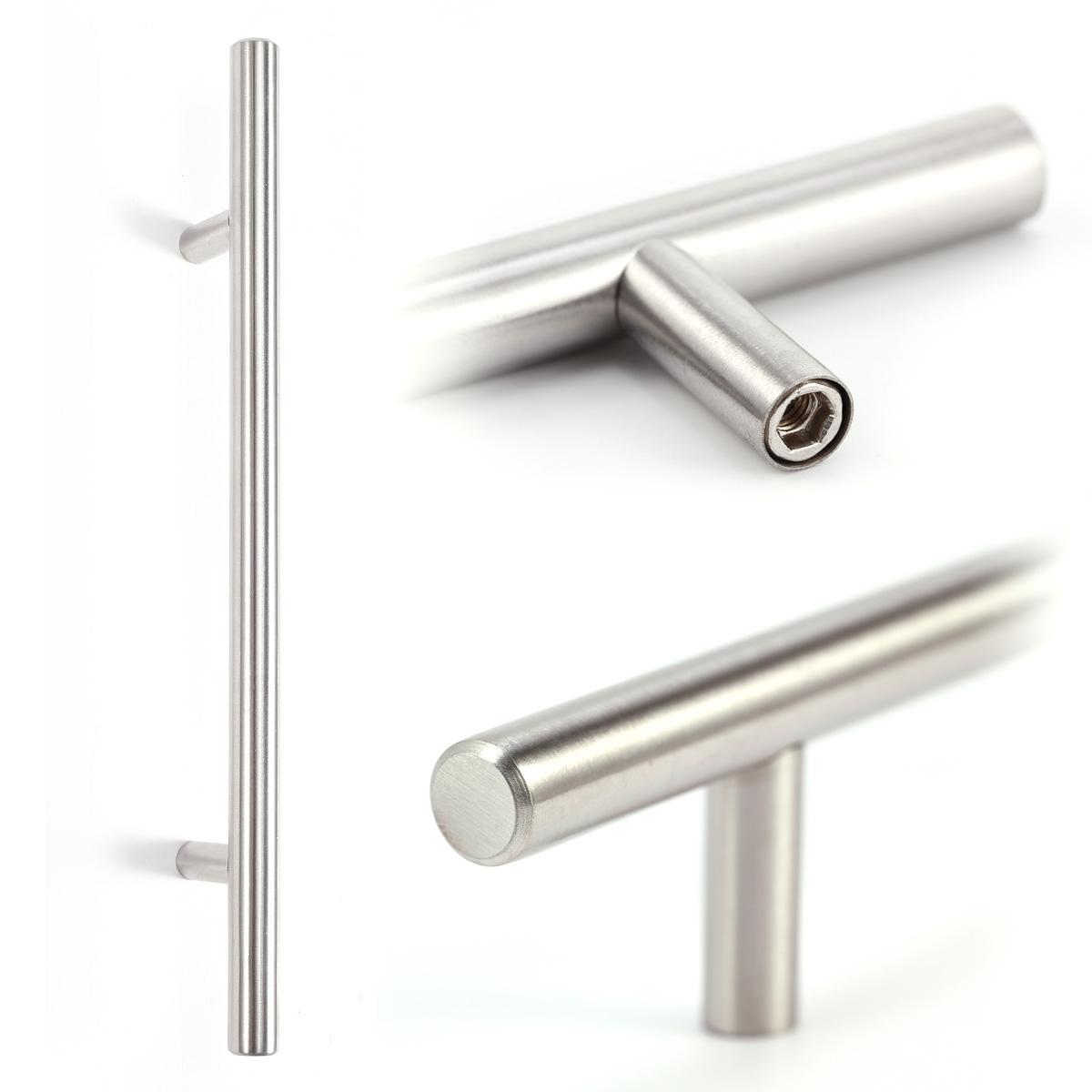 20x poign e barre en t inox avec vis pour cuisine meuble armoire placard tiroir ebay - Poignee pour meuble cuisine ...