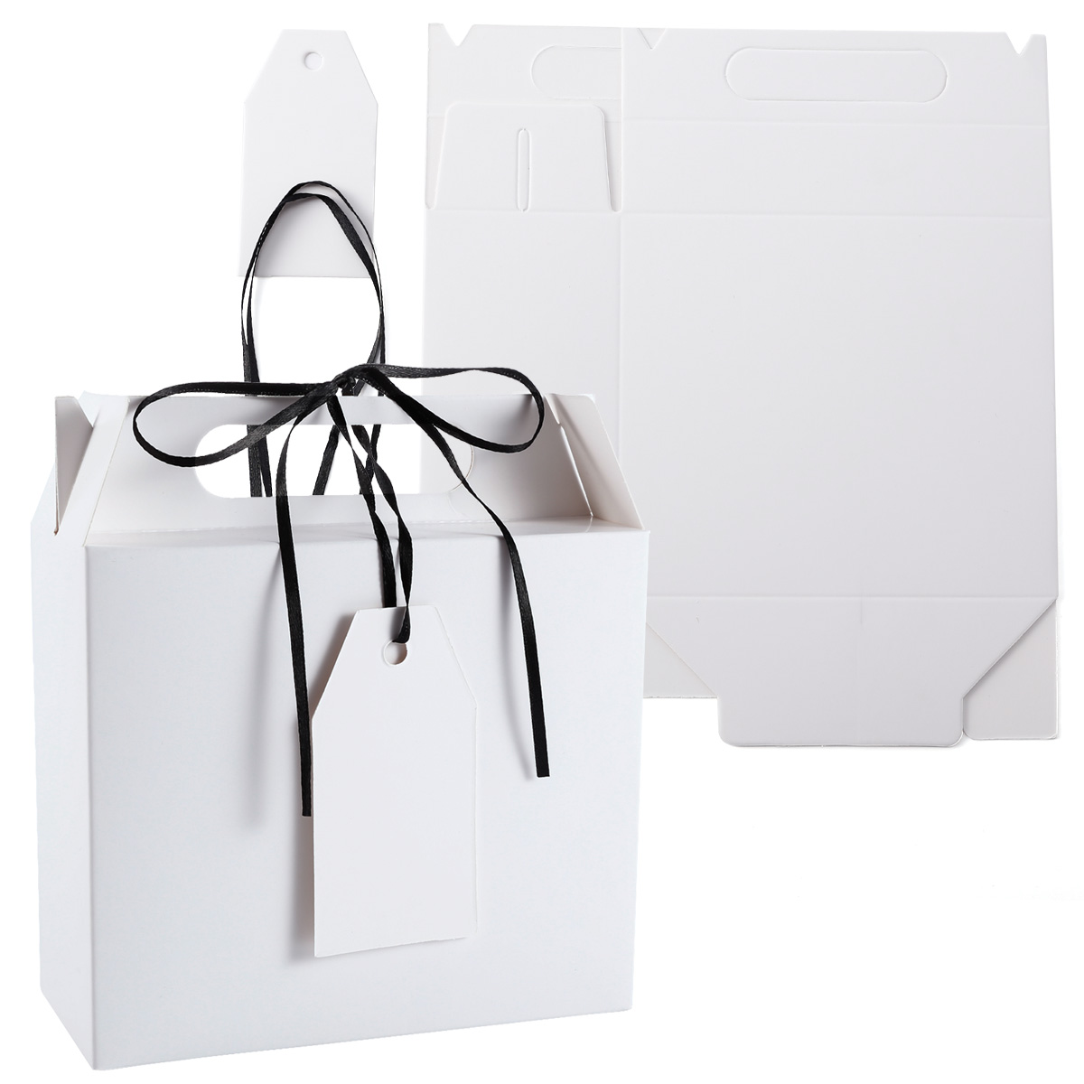 25pcs bo te cadeau blanche av poign e ruban noir tiquette inscriptible ebay. Black Bedroom Furniture Sets. Home Design Ideas