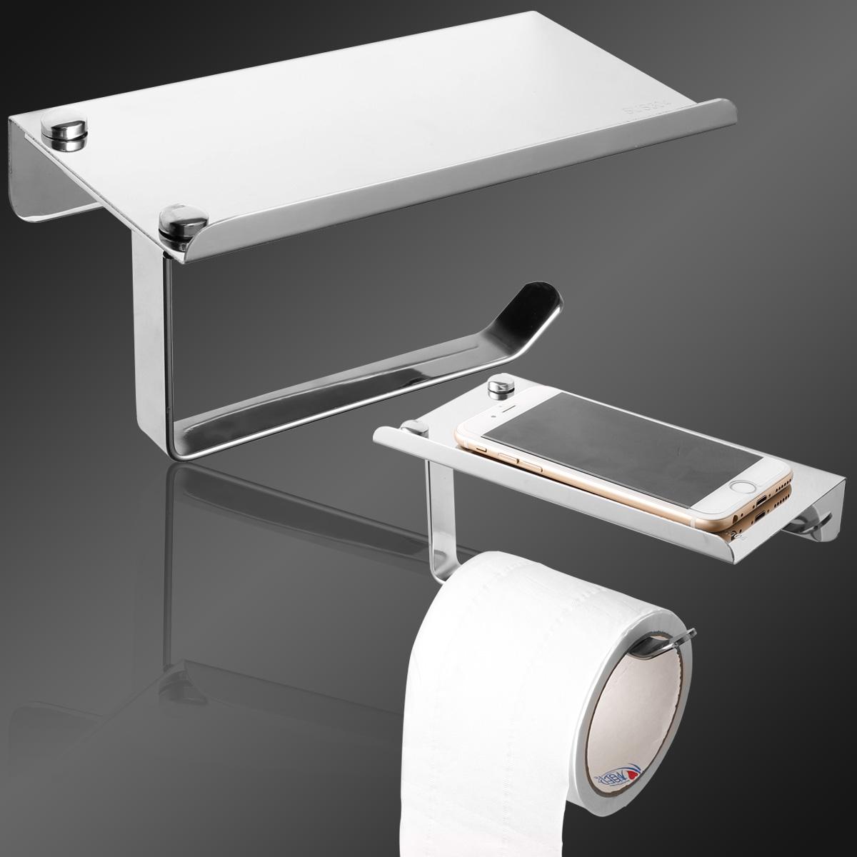 stainless steel wall mounted bathroom toilet paper holder tissue bar shelf ebay. Black Bedroom Furniture Sets. Home Design Ideas