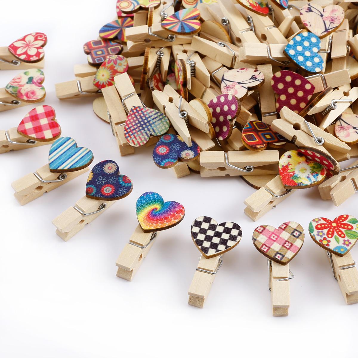 100 Stück Mini Holzklammern Kleine Wäscheklammern Herz
