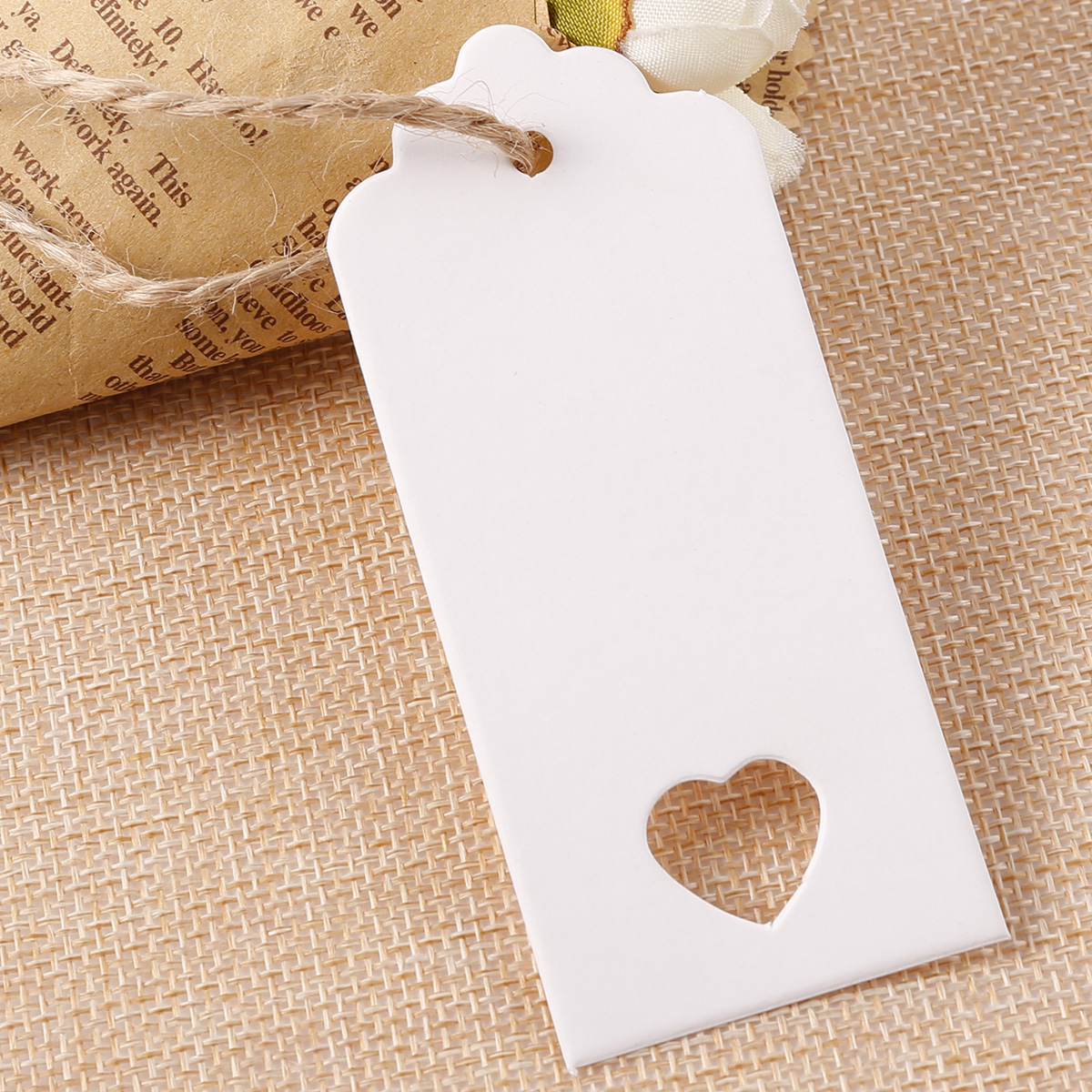 100X KRAFT PAPER GIFT TAGS WHTIE BLANK STRINGS WEDDING CANDY BOX ...