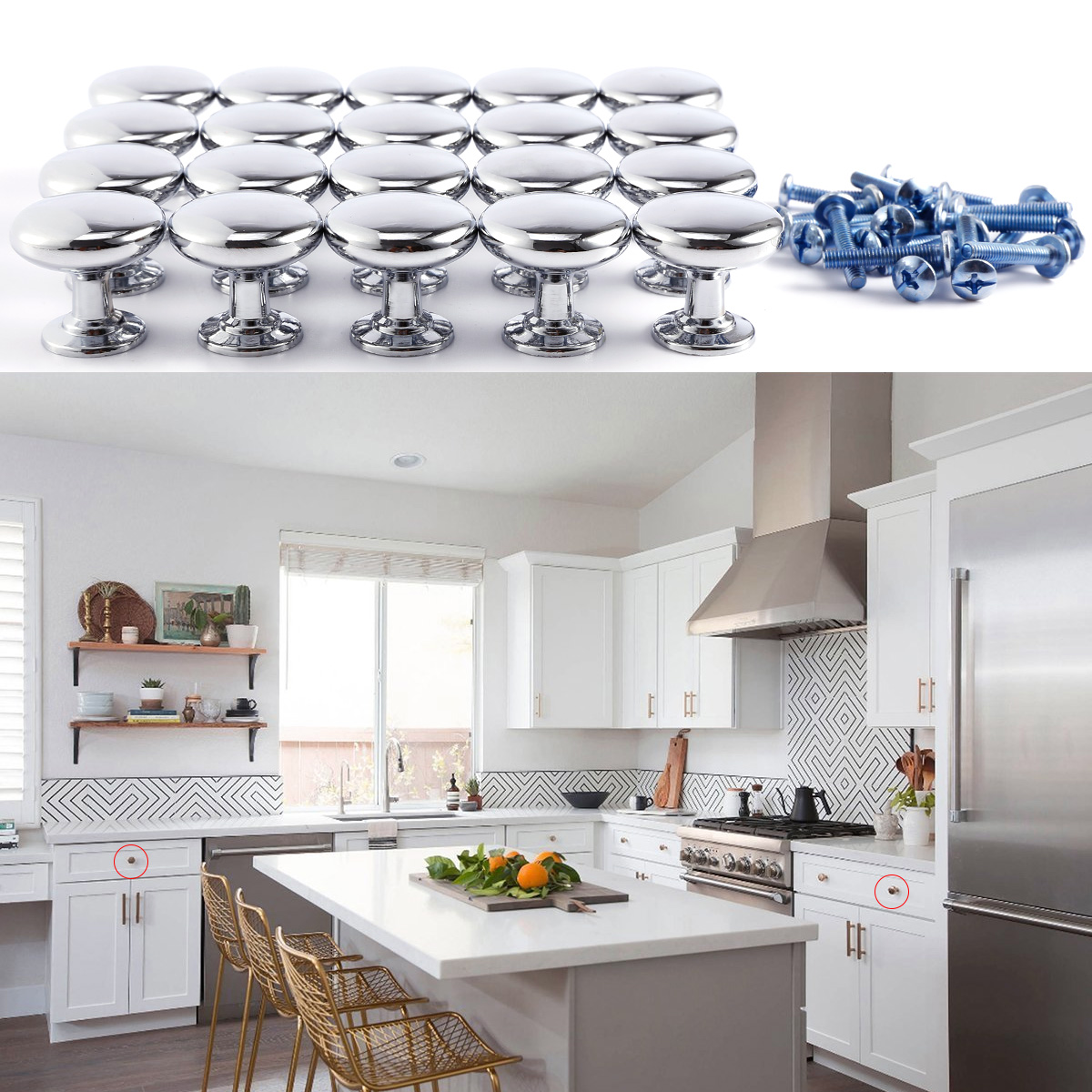 20 Chrome Kitchen Cupboard Cabinet Door Drawer Knobs Pull Mushroom 2 Finishes