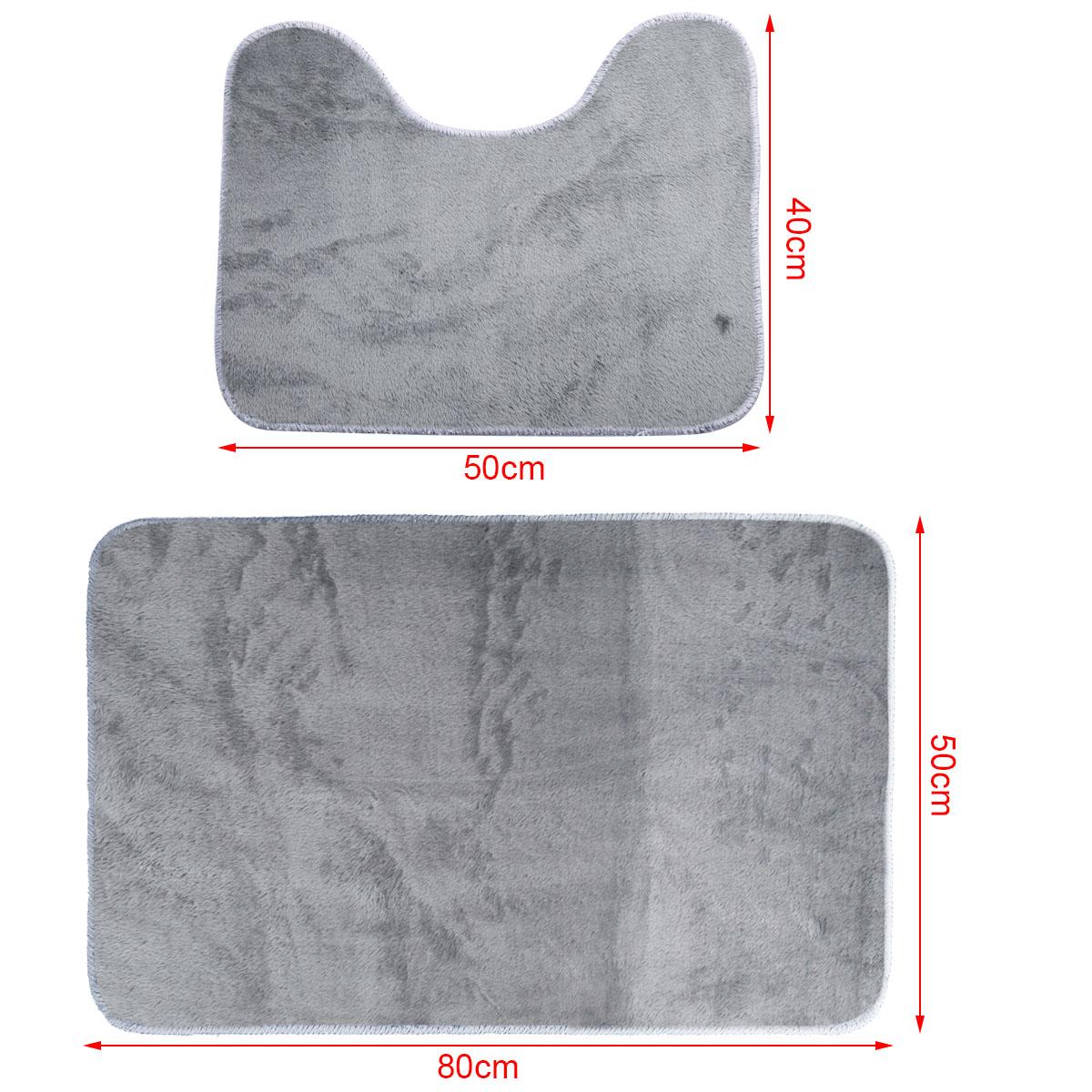 2er set grau badvorleger badematte badteppich badezimmer teppich wc vorleger ebay. Black Bedroom Furniture Sets. Home Design Ideas
