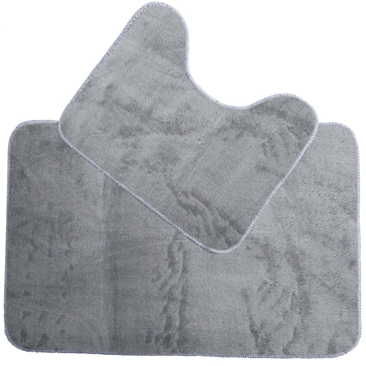 2er set grau badvorleger badematte badteppich badezimmer. Black Bedroom Furniture Sets. Home Design Ideas