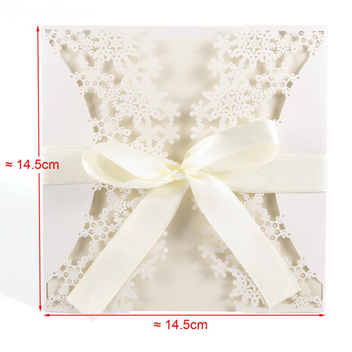 10er Einladungskarten Schneeflocke/Strauss/Blumen Spitze Design Hochzeit  Taufe