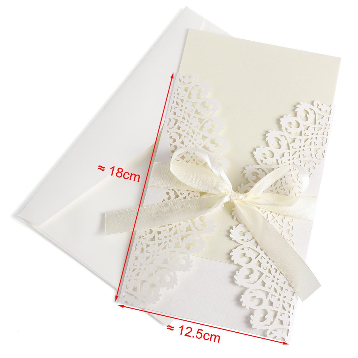 10x cartes invitation voeux faire part de mariage bapteme avec enveloppes ruban ebay. Black Bedroom Furniture Sets. Home Design Ideas