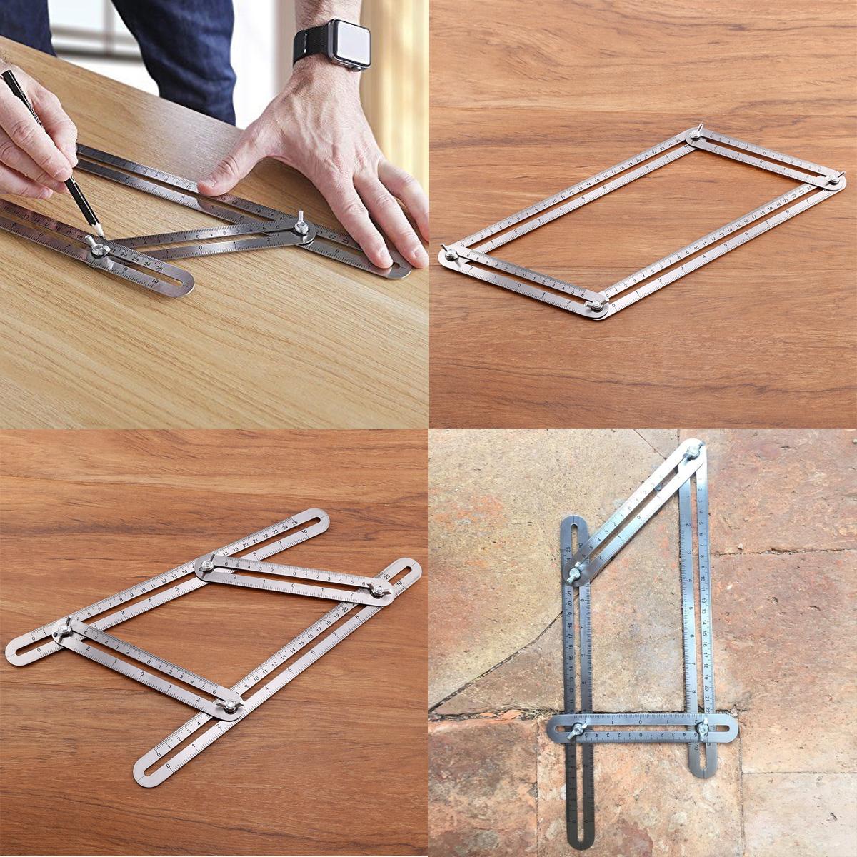 angleizer vorlage winkel lineal zollstock winkelschablone silber schreiner ebay. Black Bedroom Furniture Sets. Home Design Ideas