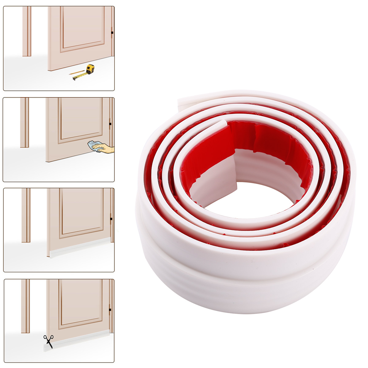 1m bas de porte adh sif silicone blanc bande d 39 tanch it anti bruit vent froid ebay. Black Bedroom Furniture Sets. Home Design Ideas