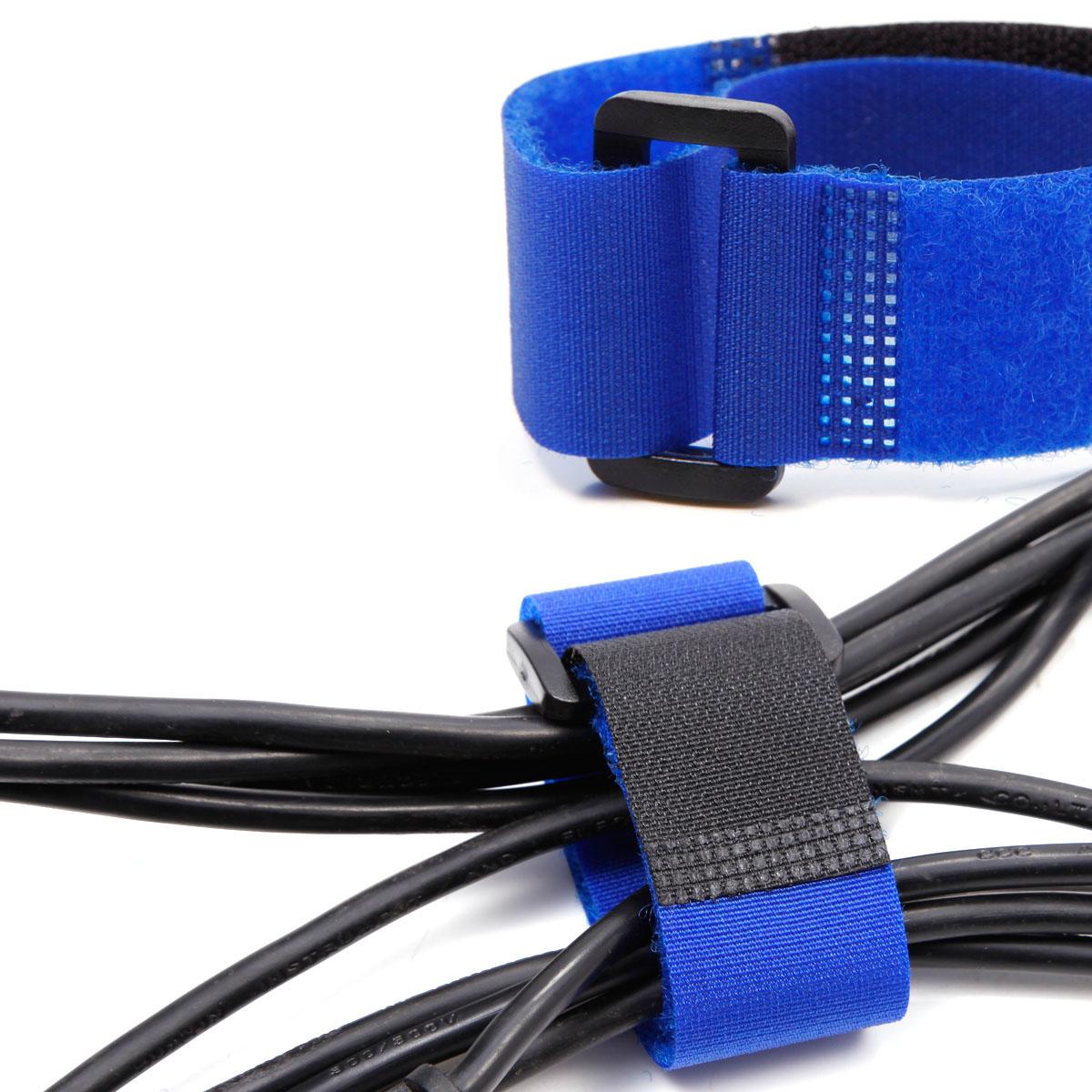 10x Fils rangement réglable fermeture attache Cable Portable PC TV bleu   eBay