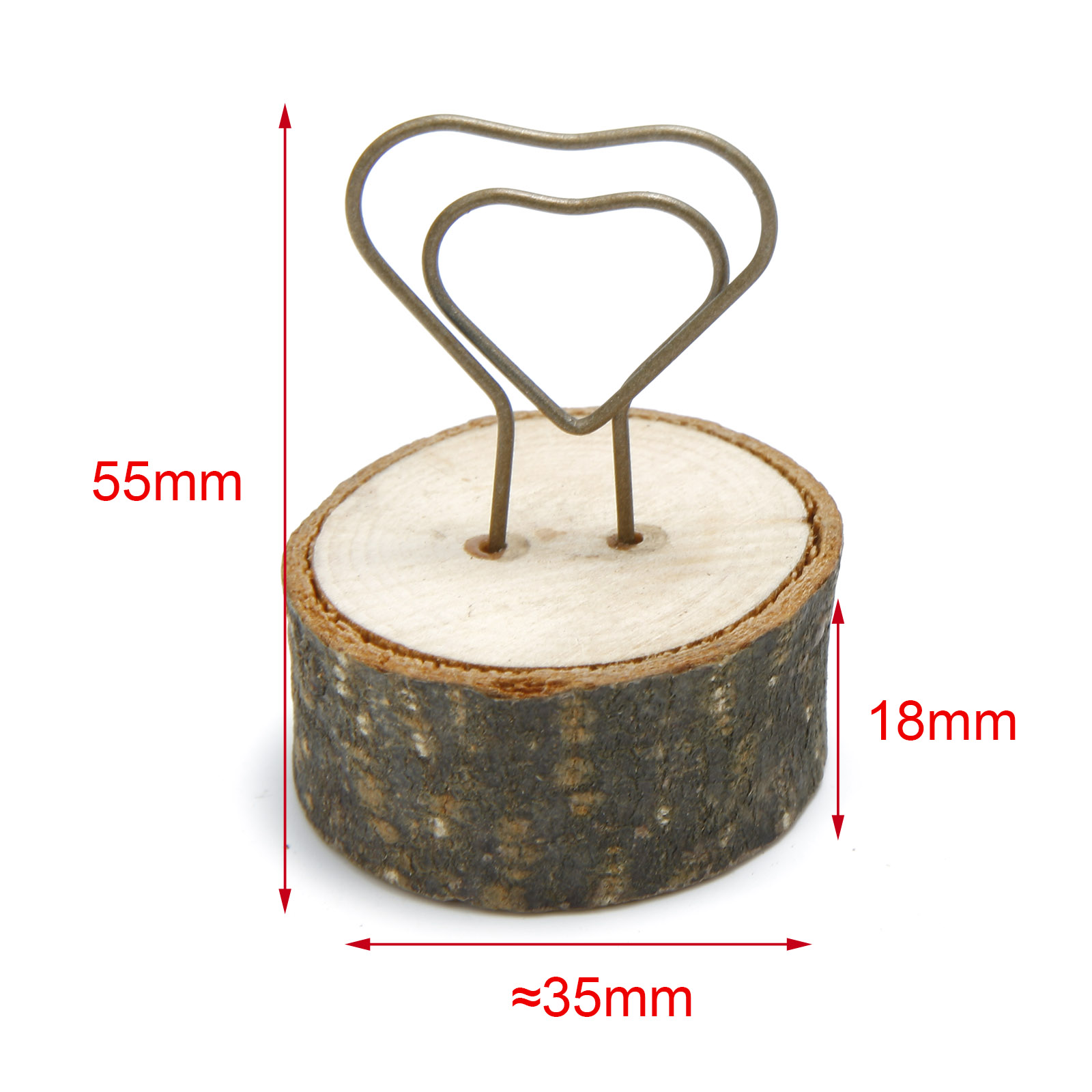 10-50pcs Wooden Base Card Holders Unique Love Heart Shape Table Name Card Clips
