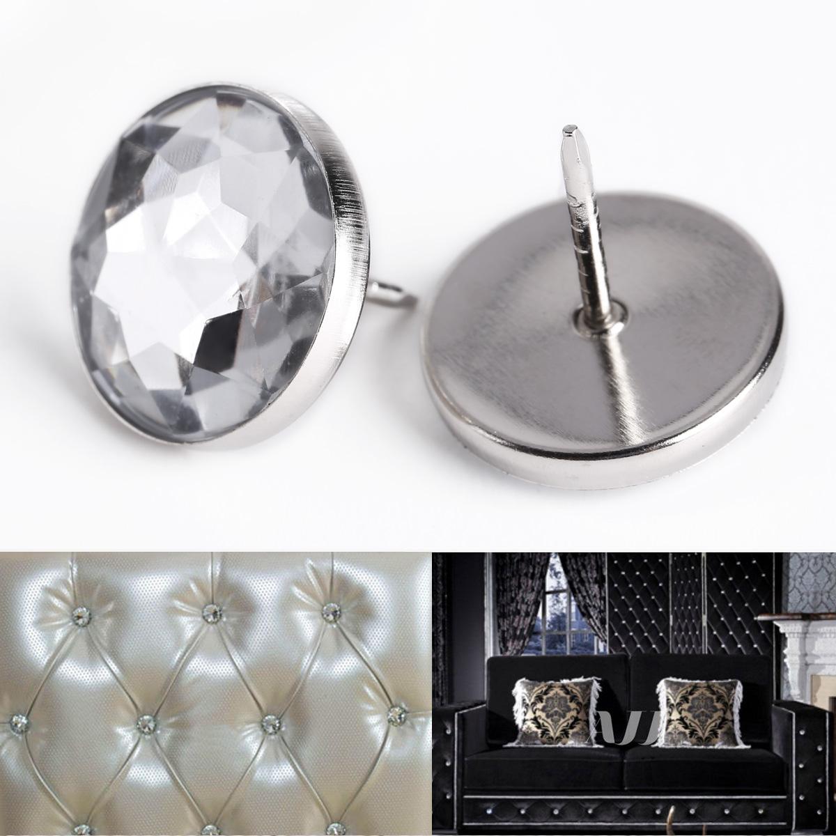 25pcs 20mm Diamante Crystal Buttons Upholstery Sofa Headboard Button Wall Decor