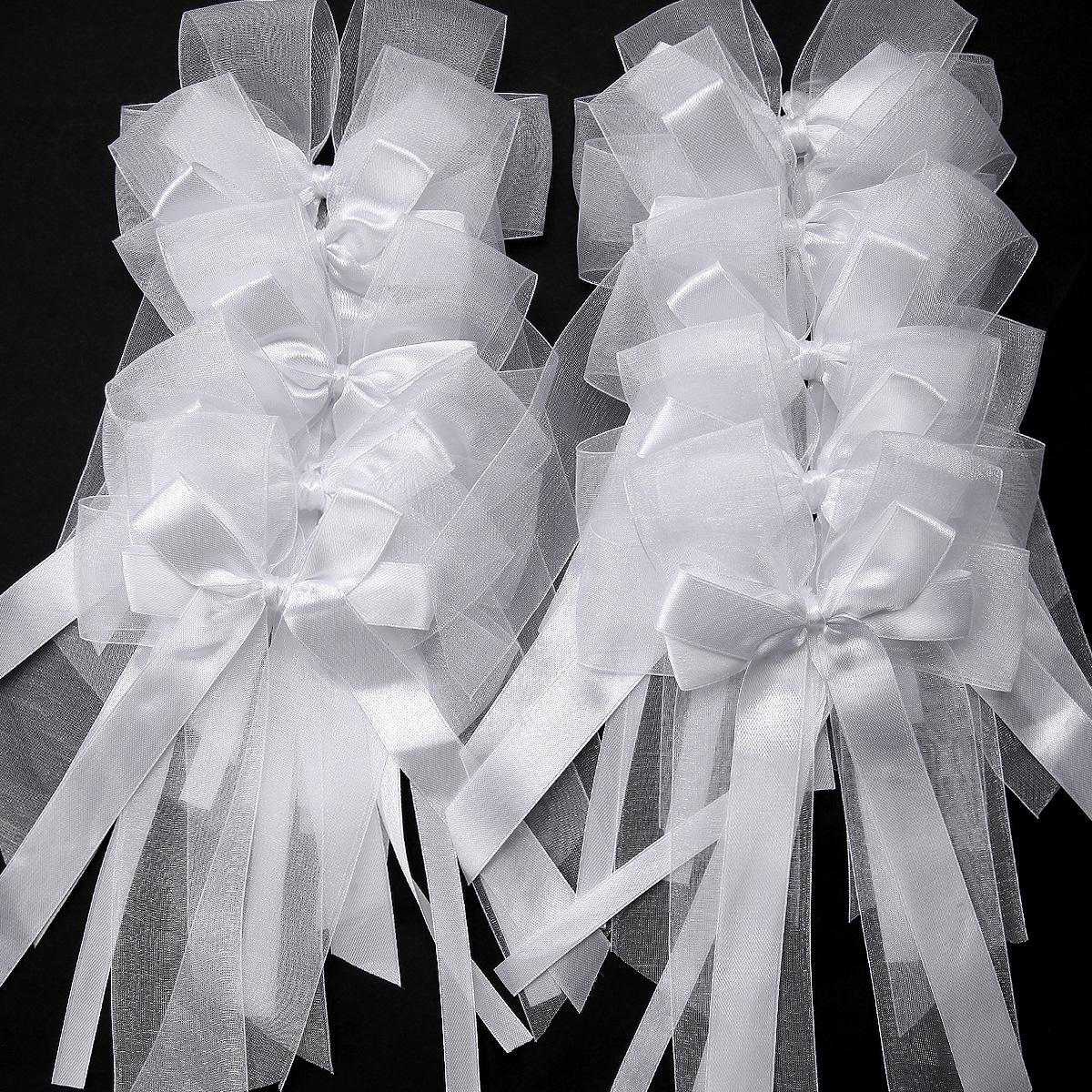 Wedding Chapel Decoration Ideas: 10x Organza Satin Ribbons Bows Bowknot Wedding Cars Gift