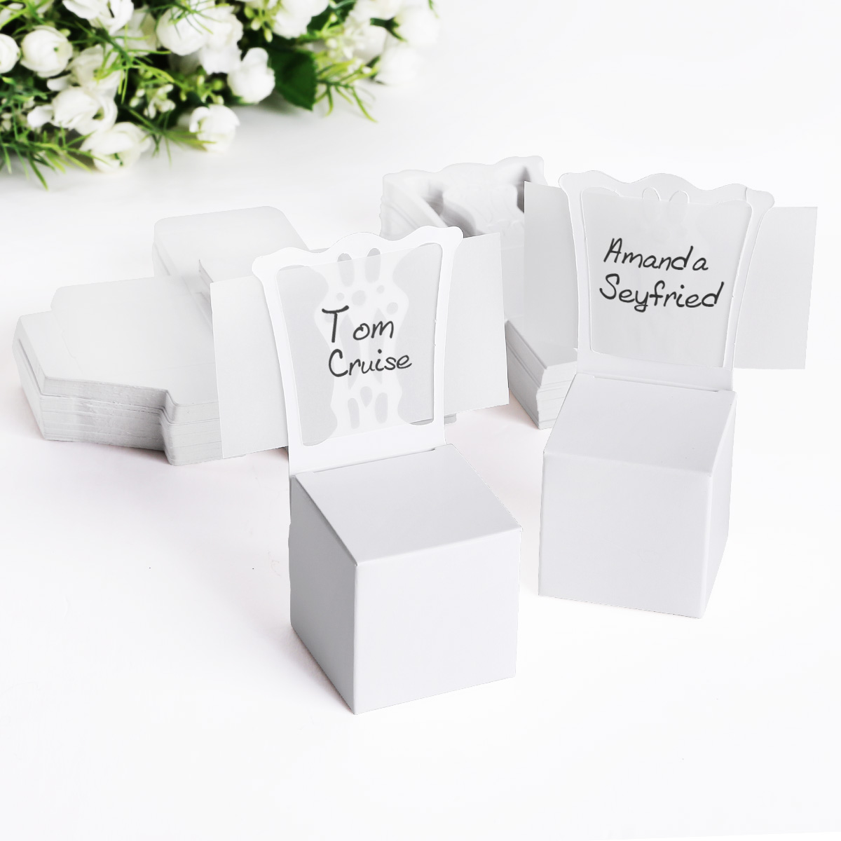 2b191c585883 Details about 50x White Chair Wedding Party Gift Favor Boxes Supplies Place  Name Cards Display