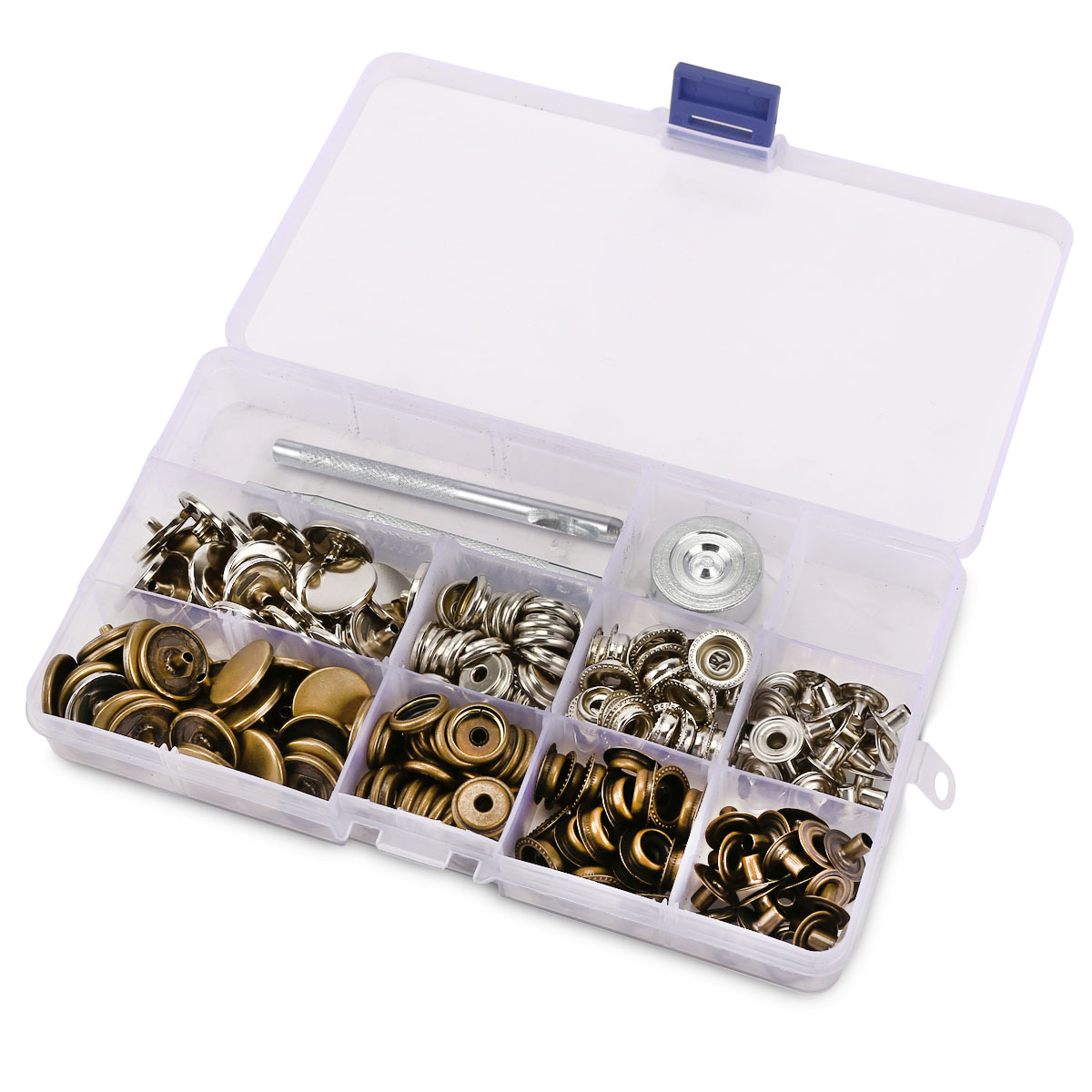 10 17mm snap fastener press stud kit w fixing tool sewing for Quality craft tool box