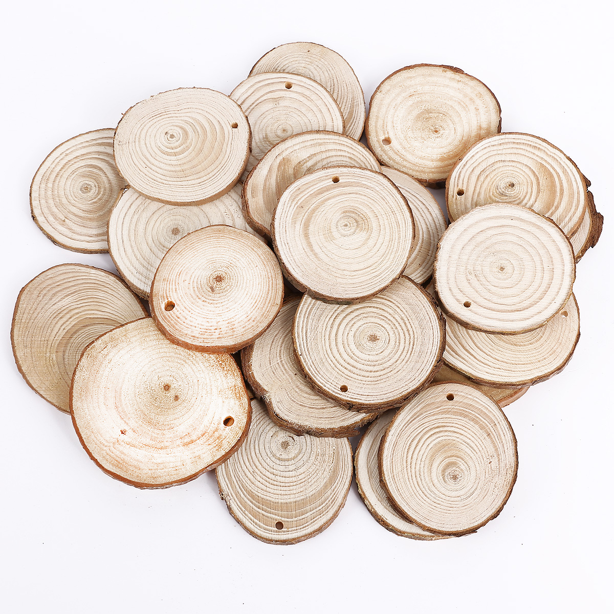 Wooden Wood Log Slices Natural Tree Bark Round Shape Tableware Decor ...