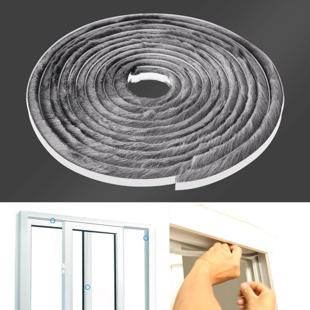 1 m Wardrobe Slidig Door Strip Window Frame Dust Seal Brush Pile Self Adhesive