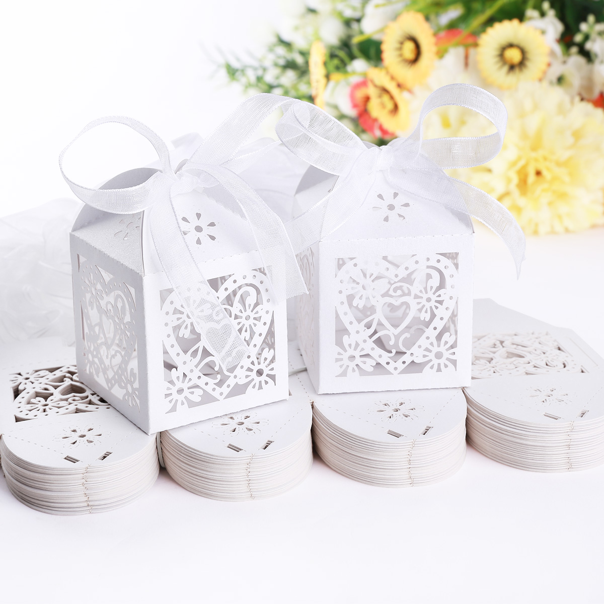 10X Heart Shaped Craft Paper Candy Box Wedding Party Sweets Gift Box W